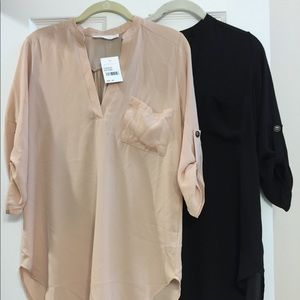 Lush Henley tunics XS - dust rose and black